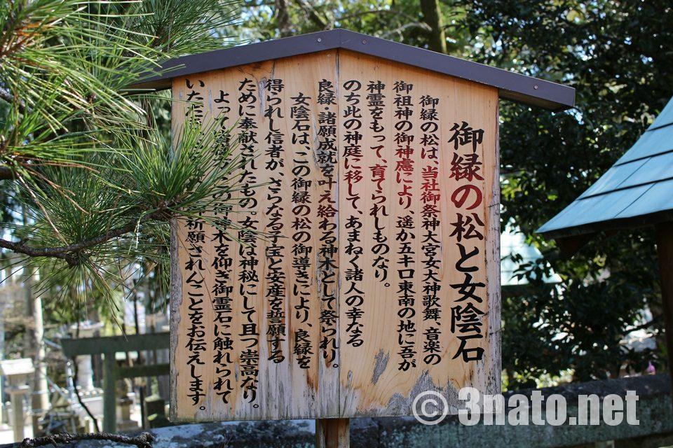 姫亀神社(ひめき)御縁の松と女陰石