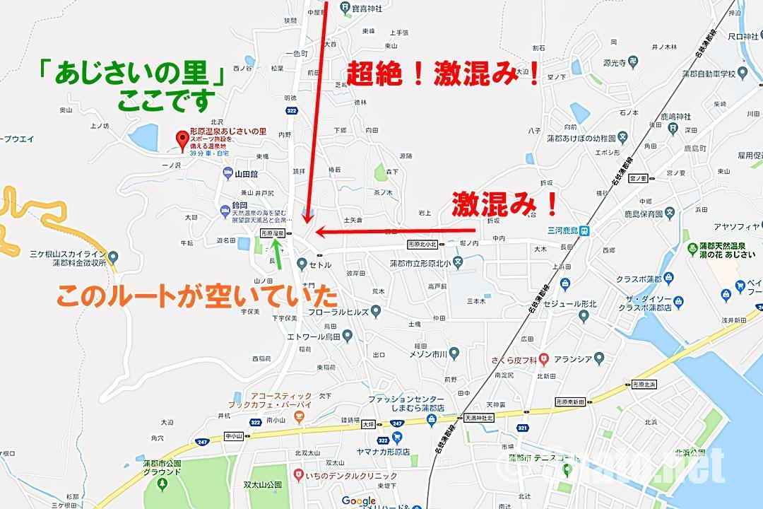 あじさいの里周辺地図と渋滞状況(形原温泉)地図:GoogleMapより