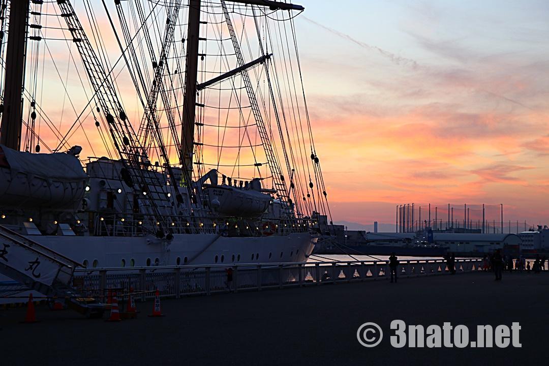 夕陽を背にした海王丸(名古屋港ガーデンふ頭)撮影日:2018/11/11